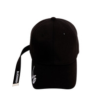 [Black Hoody]Single Rose Long Strap Cap - Black