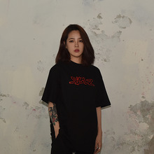 [S'BLZ]Edge Logo & Label T-shirts - Red