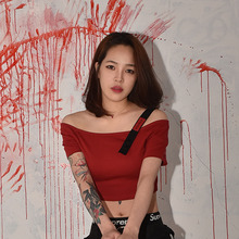 [S'BLZ]Strap Red Crop T-shirts - Red