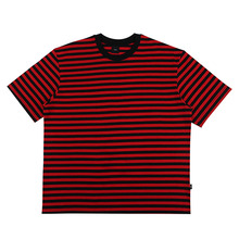 [10%할인][EINEN]Peerless Fake Stripe 1/2 T-Shirts Black&Red