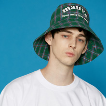 [5/29예약배송][MAUVE] Logo check bucket hat (green)