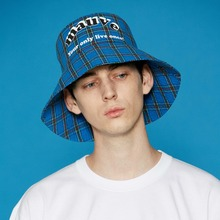 [5/29예약배송][MAUVE] Logo check bucket hat (blue)