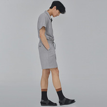 [SALON DE SEOUL] Man Eyelet Half Pants - Gray