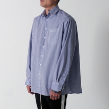 [페노메코착용][Coup de Grace] BLUE STRIPE OVERSIZED SHIRT