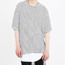 [Nar_Yoke] Basic Overfit T-Shirt - White Stripe