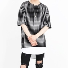 [Nar_Yoke] Basic Overfit T-Shirt - Black Stripe
