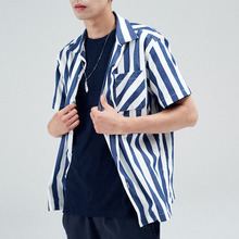 [30%할인][INTAR] OPEN COLLAR HALF SHIRTS - NAVY STRIPE