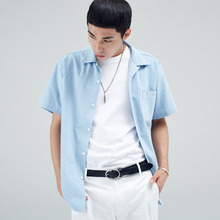 [30%할인][INTAR] OPEN COLLAR HALF SHIRTS - DENIM