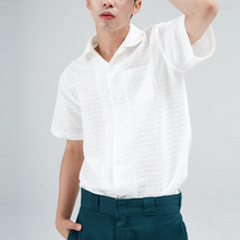 [30%할인][INTAR] OPEN COLLAR HALF SHIRTS - WHITE