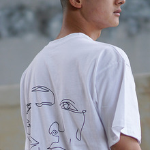 [MUTEMENT][30%할인]BACK LINEDRAWING 1/2 T-SHIRTS(WHITE)