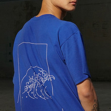 [MUTEMENT][30%할인] WAVE LINEDRAWING 1/2 T-SHIRTS(BLUE)
