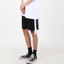 [Nar_Yoke] Side Zipper Line Shorts - Black/White