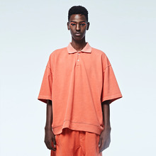 [DVINE STUDIO] OVER FIT PIGMENT PIQUE TEE (ORANGE)