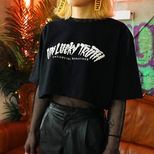 [UNLUCKYTRUTH] LETTERING CROP T - BLACK