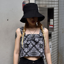 [15%할인][S'BLZ] Bandanna crop sleeveless - Black