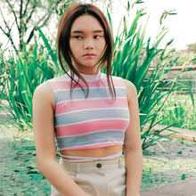[NOTYOURROSE]Stripe sleeveless croptop - PINK