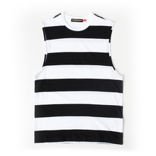 [MOMENTBYM] Striped sleeveless t-shirts