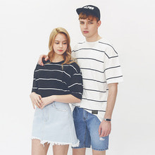 [42%sale] [WOLPENDER] (unisex) Pin Stripe Overfit Short sleeves T-Shirt