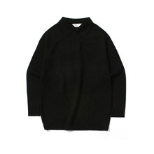 [LAFUDGESTORE] Basic Collar Knit_Black