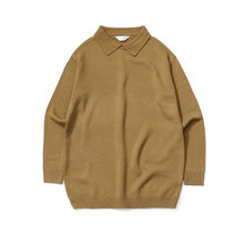 [LAFUDGESTORE] Basic Collar Knit_Olive