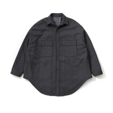 [LAFUDGESTORE] (Unisex) Melton Over Shirt Coat_Charcoal