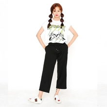 [SUPER DRINK]3/4 Wide Pants-Black