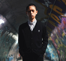 [Thanks Father] 2 Tone Cardigan - Black