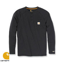 [Carhartt] FORCE COTTON HENLEY L/S (BLACK)