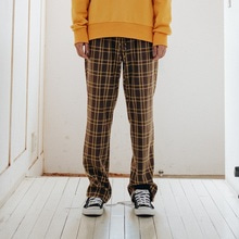 [10%할인][Double adrenaline syndrome]Basic check pants - BROWN