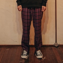 [10%할인][Double adrenaline syndrome]Basic check pants - RED
