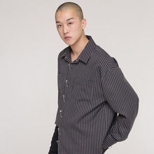 [NEVERCOMMON] oversized stripe shirt