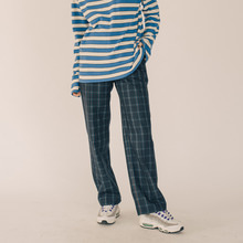 [RUNNINGHIGH] Cube Check Semi Wide Slacks - Black