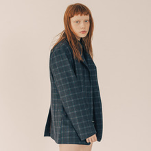 [RUNNINGHIGH] Cube Check 3 Button Single Jacket - Black