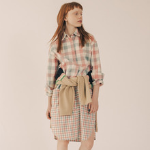 [RUNNINGHIGH] 2 Pattern Long Check Shirt Dress - Pink
