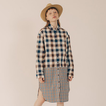 [RUNNINGHIGH] 2 Pattern Long Check Shirt Dress - Brown