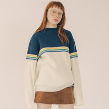 [RUNNINGHIGH] 3 Line Retro Knit - White