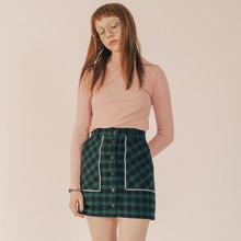 [RUNNINGHIGH] Button Fly Line Check Skirt - Green