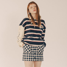[RUNNINGHIGH] Button Fly Line Check Skirt - Navy