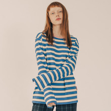 [RUNNINGHIGH] Neck Point Stripe Long Sleeve Cut&sewn - Blue