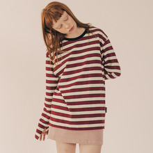 [RUNNINGHIGH] Neck Point Stripe Long Sleeve Cut&sewn - Wine
