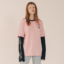 [RUNNINGHIGH] Bohemian Squad Layered Sleeve Cut&sewn - Pink