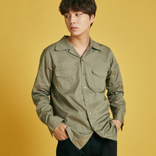 [INTAR]Wide Collar Shirts - Khaki