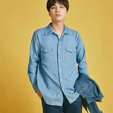 [INTAR]Wide Collar Shirts - Denim