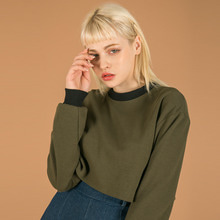 [SUMMERJADE] Basic Crop Sweatshirt-Khaki