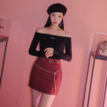 [PAIN OR PLEASURE] EYELET CHAIN SKIRT red check