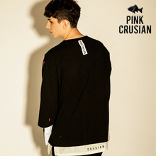 [PINK CRUSIAN] Layered T-shir t black PCA1TS002_Black (Unisex)