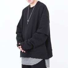 [Nar_Yoke] Overfit Layered Sweatshirt - Black