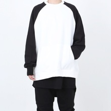 [Nar_Yoke] Overfit Raglan Sweatshirt - Black/White