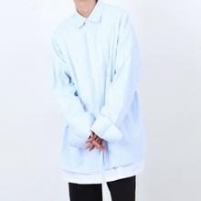[Nar_Yoke] Super Overfit Stripe Shirt - Sky Blue
