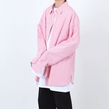 [Nar_Yoke] Super Overfit Stripe Shirt - Indy Pink